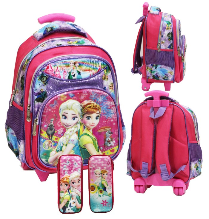 harga Tas Trolley Anak Tk Import Frozen Fever 5d Timbul+kotak Pensil Timbul Tokopedia.com