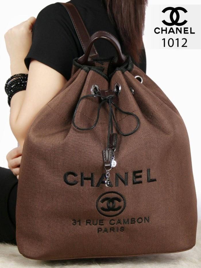 0ea1dae927dbd5 Chanel Deauville Canvas Drawstring Backpack Bag like Ori Hardware Silv