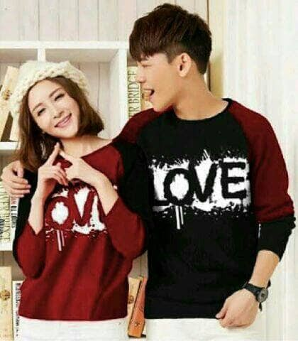 harga Aop kaos couple love lope maroon / baju cp pakaian pasangan atasan Tokopedia.com