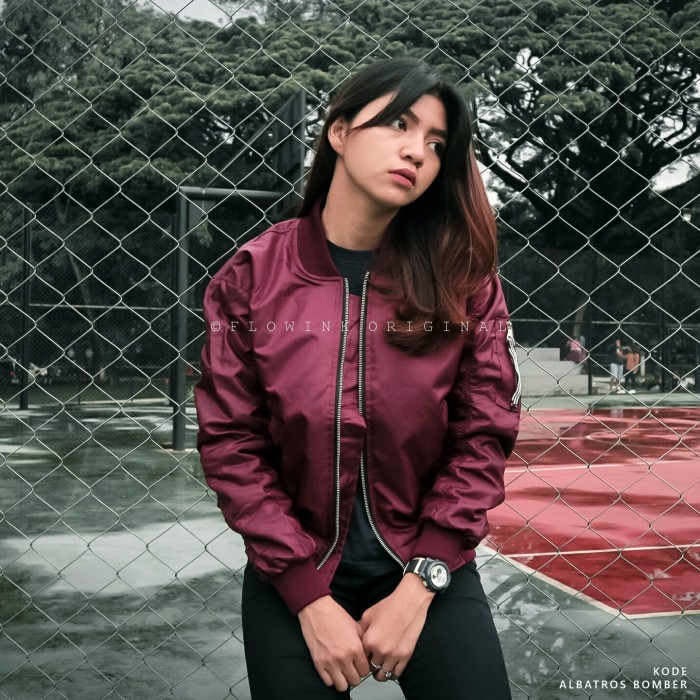 Fashion Jaket Bomber Wanita Merah - Daftar Update Harga Terbaru Indonesia