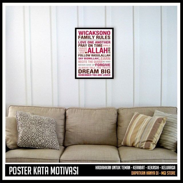 Home Decor Islami - Pigura Hiasan Dinding - CUSTOM FAMILY RULES