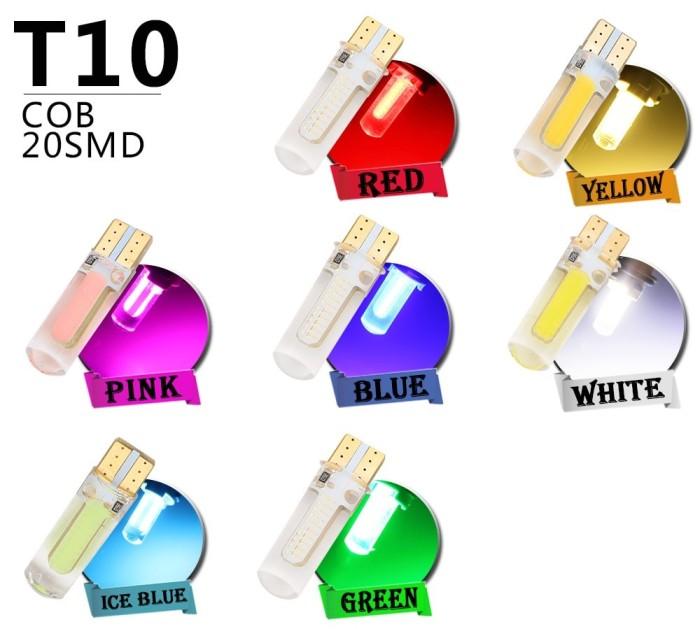 10x T10 194 168 W5W COB LED CANBUS Silica Glass License Light Bulbs Universal