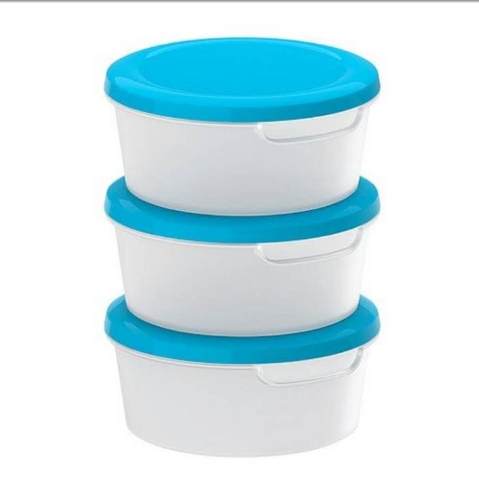 harga Ikea jamka wadah makanan 0.5l - set isi 3pcs - putih transparan & biru Tokopedia.com