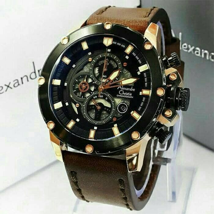 harga Jam tangan pria ori alexandre christie ac 6416 mc black rosegold Tokopedia.com