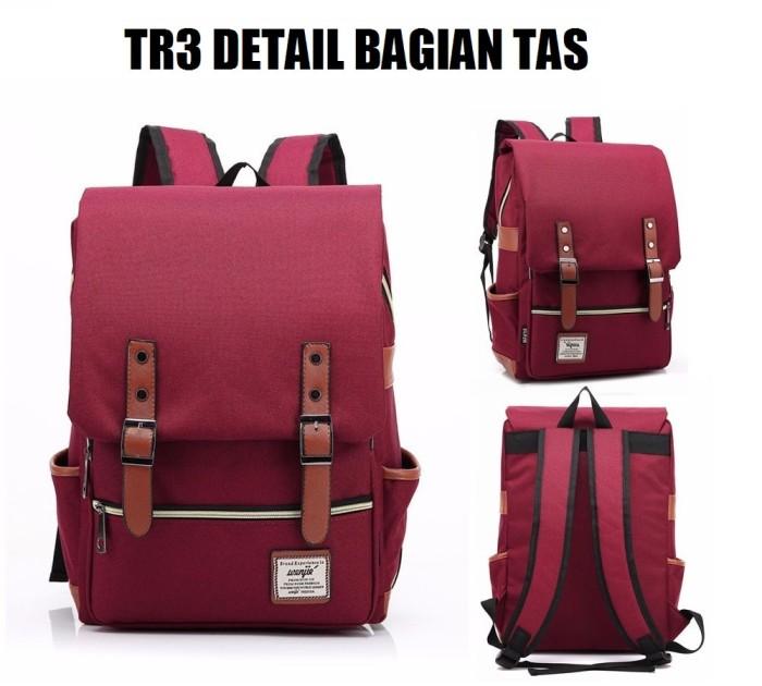 Tas Ransel TR3 Buku Backpack Laptop Ipad Punggung Kanvas Canvas Import - Merah