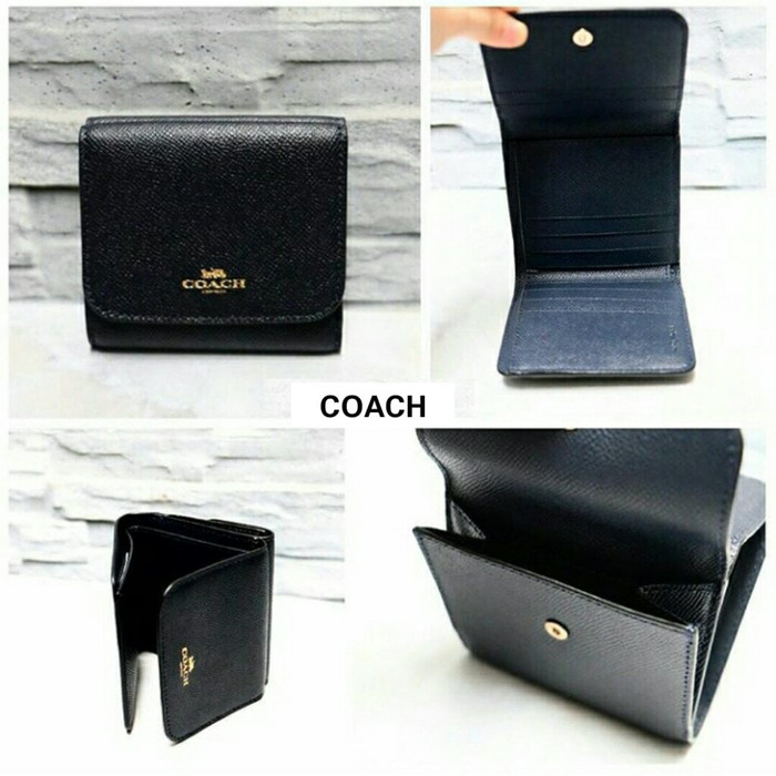 JUAL DOMPET COACH LEATHER SMALL TRIFOLD BLACK ORIGINAL