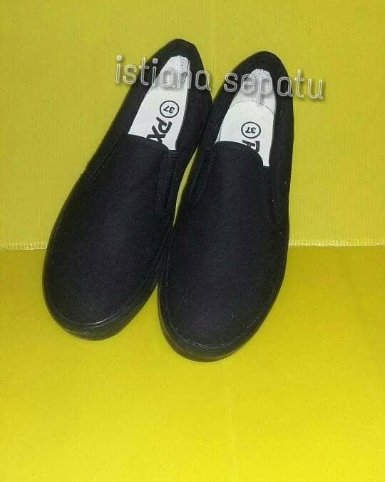 sepatu px style 179 allblack slipon pria murah kanvas lukis