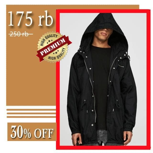 harga Raven jacket parka hoodie jaket fashion pria baby kanvas okechuku - hitam m Tokopedia.com