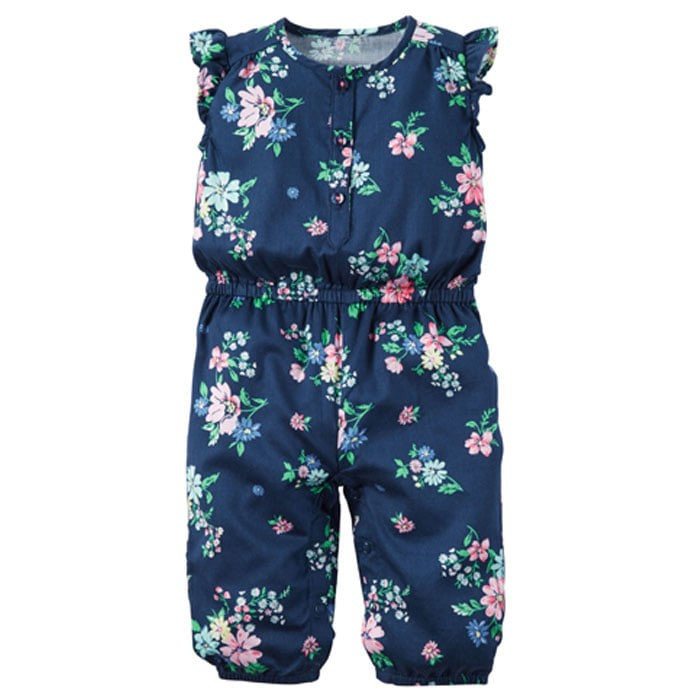 harga Baju jumpsuit celana pakaian anak bayi baby cewe perempuan biru bunga Tokopedia.com