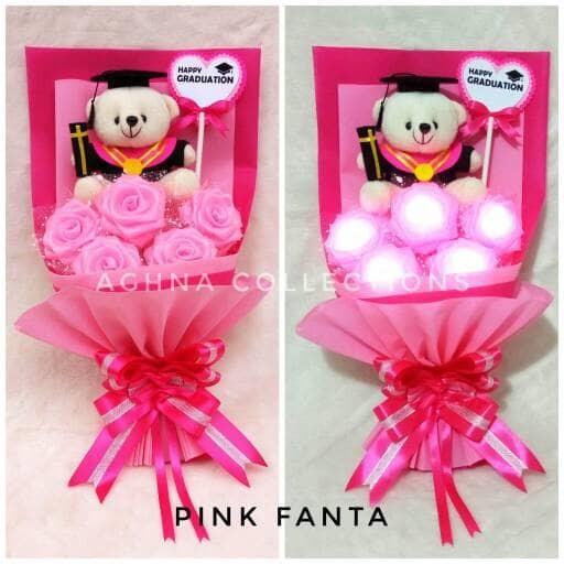 harga Hand bouquet bucket buket bunga mawar menyala lampu led boneka wisuda  Tokopedia. aae7736dbf