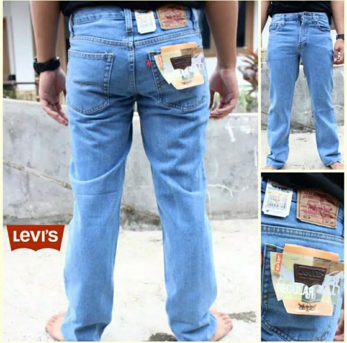 celana jeans pria biru muda /celana panjang reguler standar straight