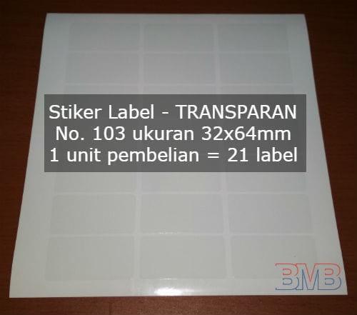 Foto Produk TRANSPARAN No 103 Stiker Label Seperti Tom and Jerry Paper Bening dari belimasbro(dot)com