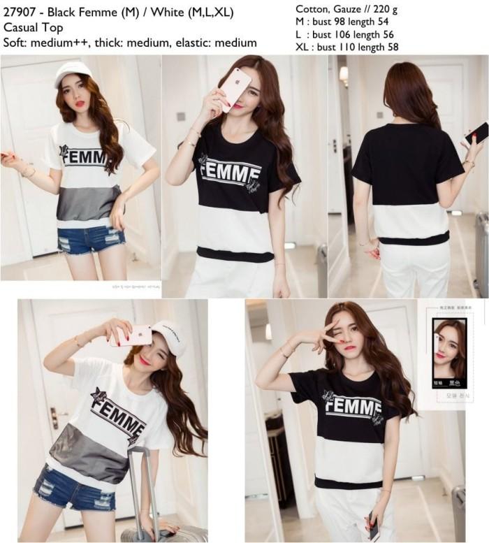 Foto Produk kaos cewek, atasan femme, tumblr, hitam, putih, cotton gauze, import dari Gangnam Style Fashion