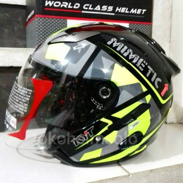 harga Helm kyt galaxy slide motif 4 mimetic yellow - double visor Tokopedia.com