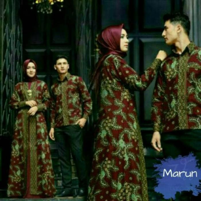 harga Ta-00002 a couple zhafir marun baju muslim sarimbit batik pesta mewah Tokopedia.com