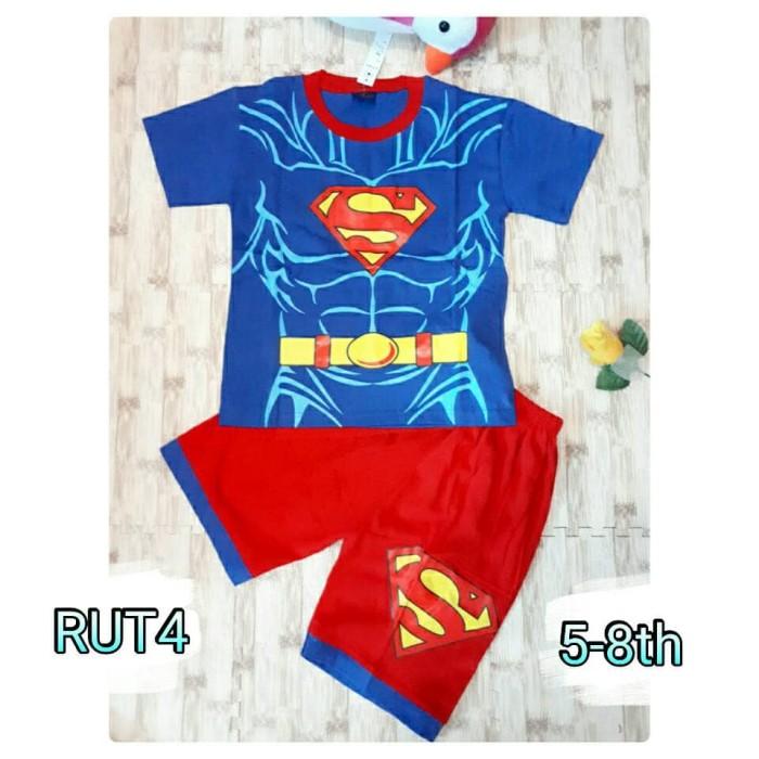 Setelan baju kostum superman superhero lengan pendek terbaru topeng ok