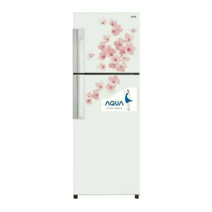 Kulkas Aqua Sanyo AQR-239FW/FS-208Ltr-Newmodel-Motif Bunga Sakura