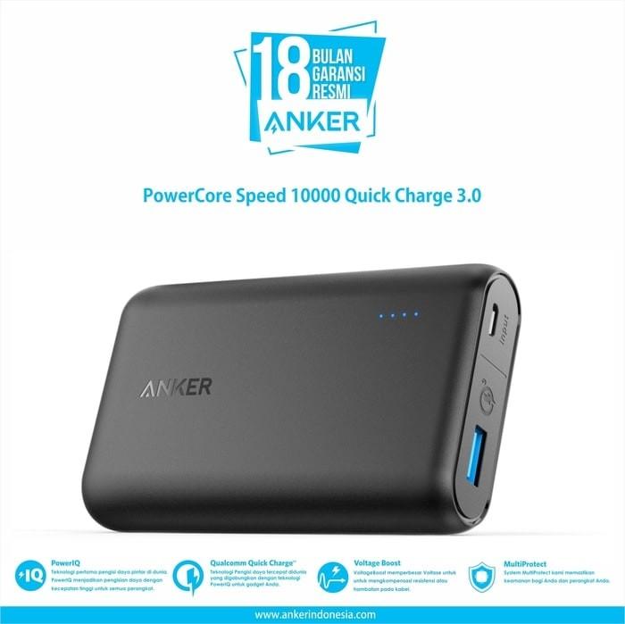 harga Powerbank anker powercore speed 10000mah quick charge 3.0 (a1266h11) Tokopedia.com