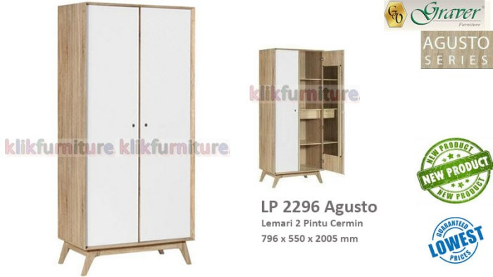 harga Lp 2296 graver lemari baju 2 pintu agusto Tokopedia.com