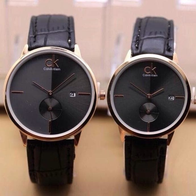 Paling Hits Jam Tangan Couple   Pasangan Ck Couple Sk445 Leather Black ebba5159c2