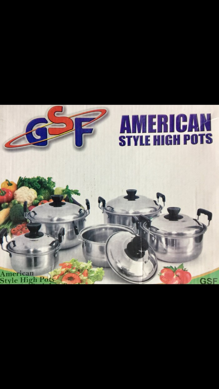 PANCI SET 5 PC FULL STAINLESS COVERALL POT AMERICAN HIGH POT ISI 5pc