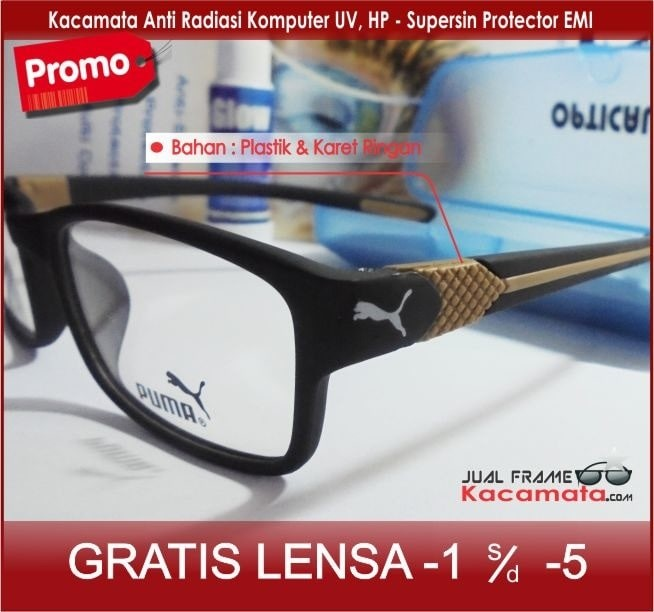 Jual Kacamata Puma Sporty + Lensa Minus Baca Antiradiasi 0c384223b0