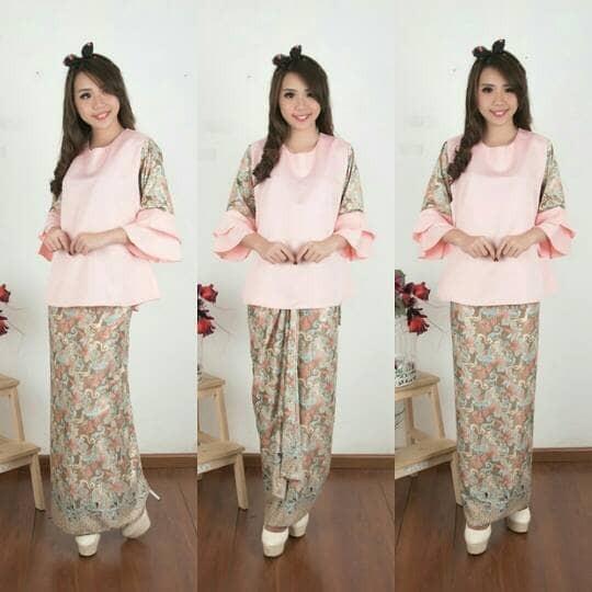 Stelan kebaya peachy blouse tromphy dan rok batik lilit jumbo