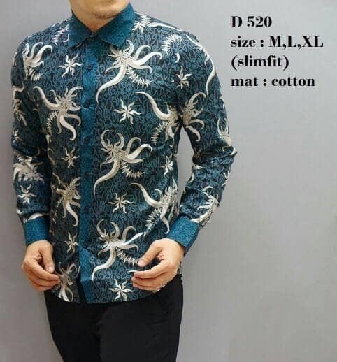 Kemeja batik pria / kemeja batik / baju batik / slim fit/ d520