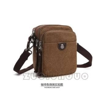 596e94790d Tas Pria Canvas Tas Selempang Tas Hp Tas Mini Shoulder Bag Coklat ...