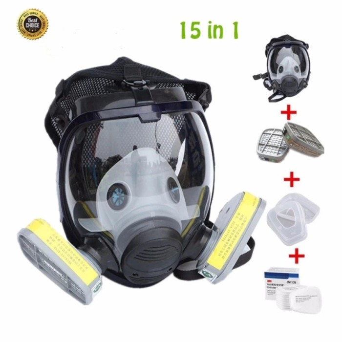 harga 15 in 1 gas mask full face facepiece respirator painting spraying Tokopedia.com