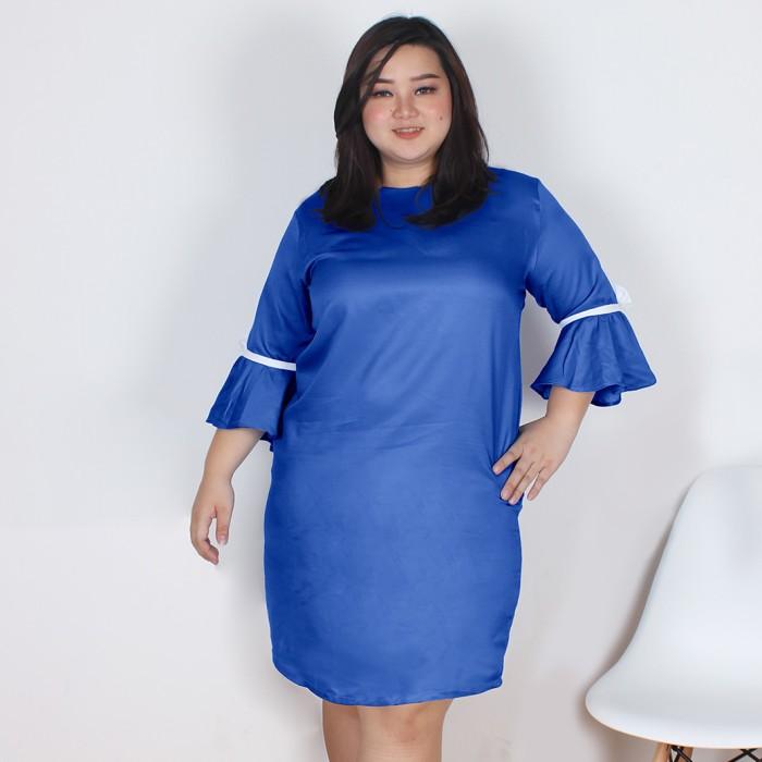 Fashion big size briana denim dress - navy 3xl