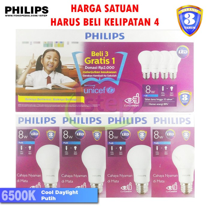 harga Lampu Led Bulb Philips 8w Putih 8 W Watt 8w Bohlam Packing4pcs Tokopedia.com
