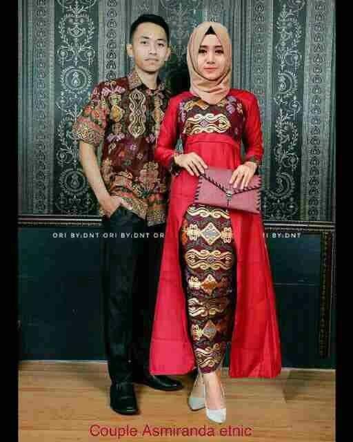 harga Baju couple gamis batik  etnic asmiranda  ( warna merah & hitam) Tokopedia.com