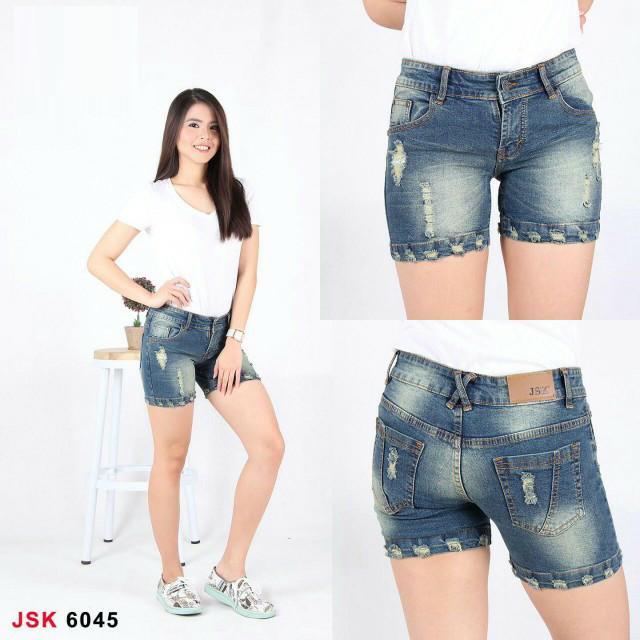 Jsk 6045 (size 27-34) - hotpants destroyed jeans/ripped denim pendek