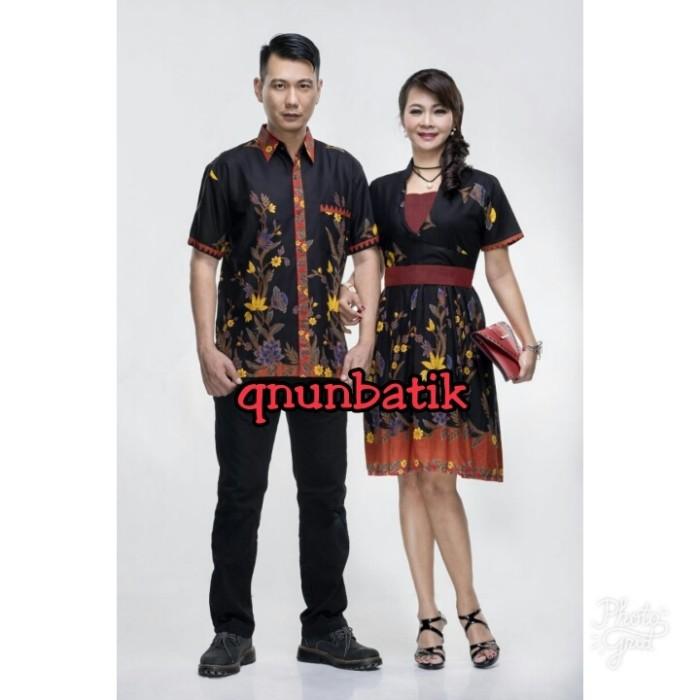 SARIMBIT COUPLE BATIK JUMBO XL DRESS TERUSAN TASYA HITAM MERAH
