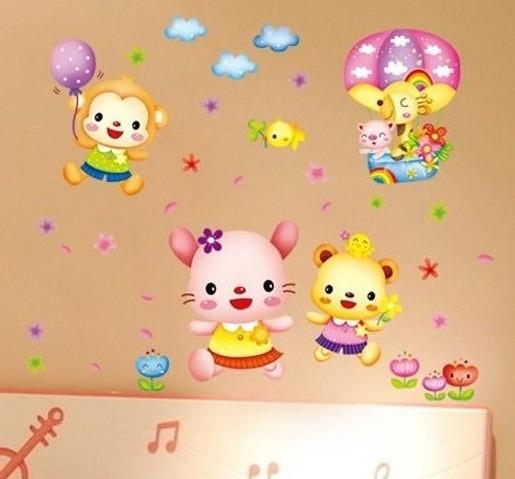 Jual Set Stiker Dekorasi Dinding Motif Kebahagiaan Anak Anak Kartun