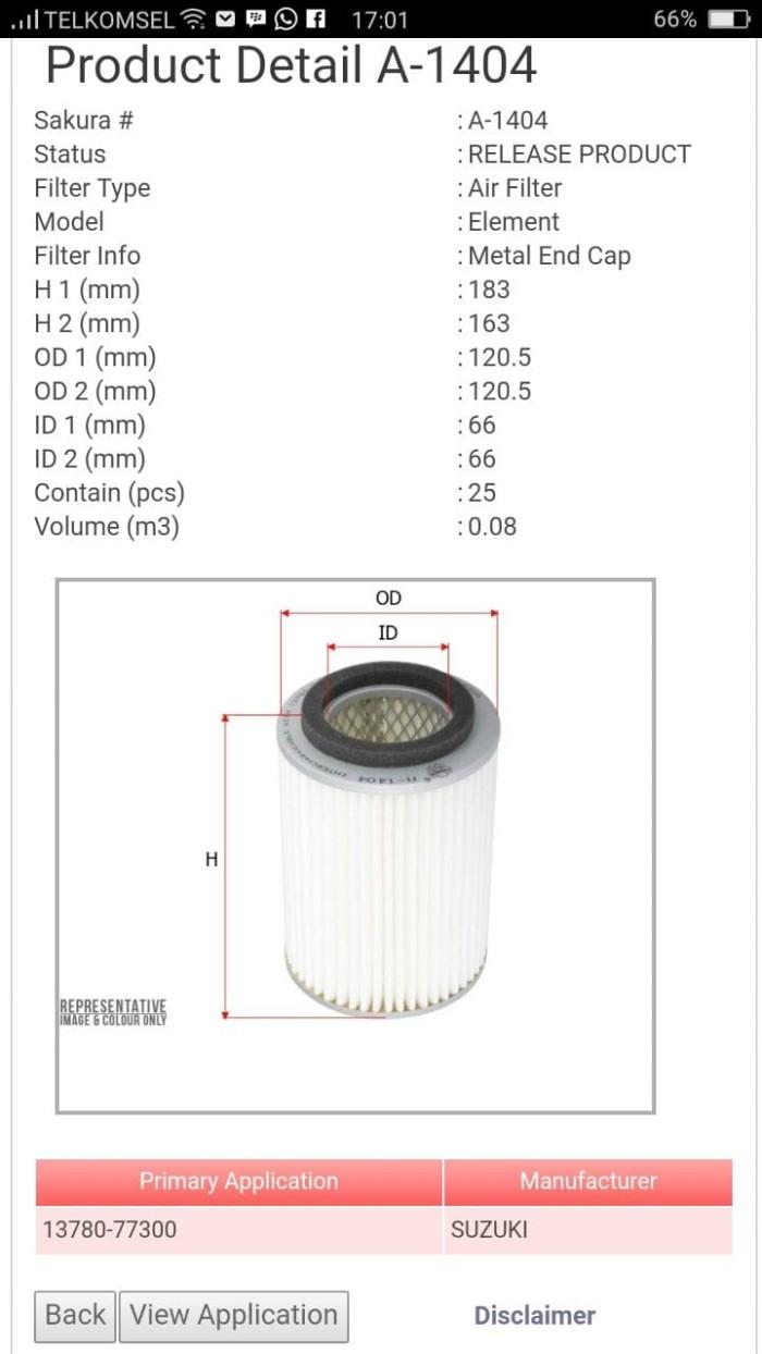 harga Filter udara suzuki st 100 13780-77300 a-1404 sakura   00491 Tokopedia.com