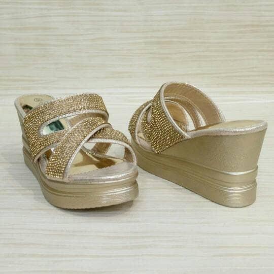 harga Sandal wedges wanita high heels pesta formal sol ringan permata import Tokopedia.com