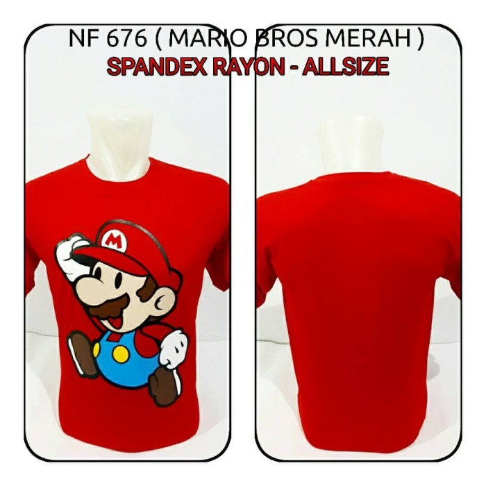 harga Kaos oblong super mario bros merah Tokopedia.com