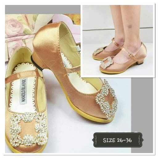 harga Sepatu pesta anak perempuan - manolo heels satin premium gold Tokopedia.com