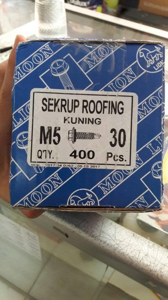 Sekrup roofing kuning m5 x 3cm isi 400bh per kotak