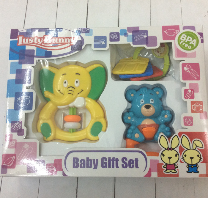 Baby gift set lusty bunny LB-1408 yellow/mainan rattle/mainan anak