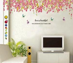 harga Wall sticker pink flowers top border jm7179 - stiker dinding / wall Tokopedia.com