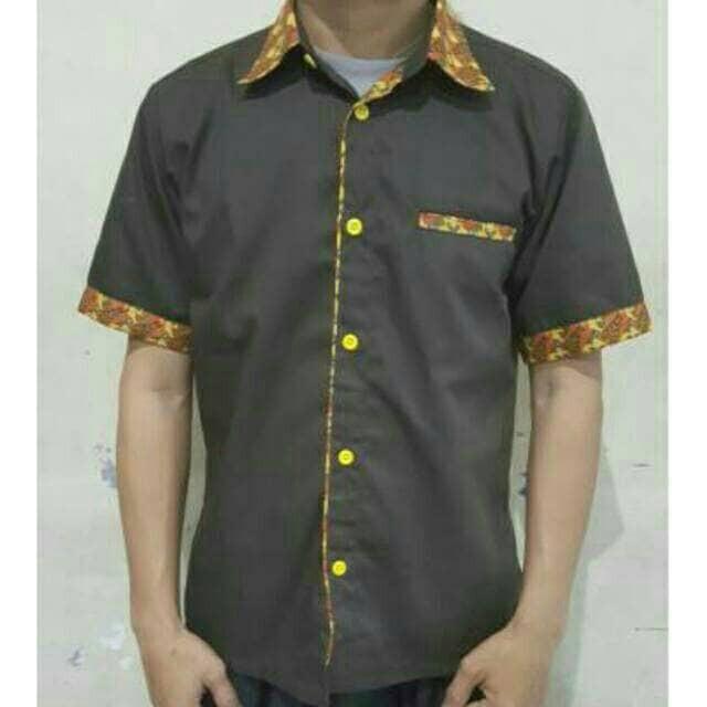 harga Kemeja seragam kerja drill coklat kombinasi batik Tokopedia.com