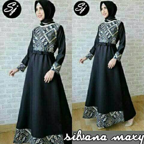 Jual Silvana Maxy D16 Gamis Batik Songket Dress Busana