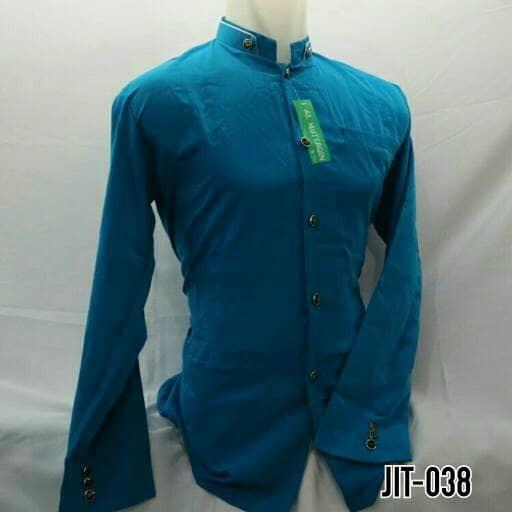 Baju muslim pria baju koko jasko semi jas koko polos biru cerah jit038