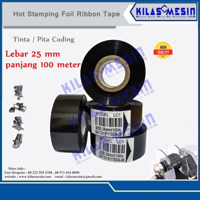 Tinta coding Pita cetak expired date Ribbon Tape 25 mm x 100 m LC1
