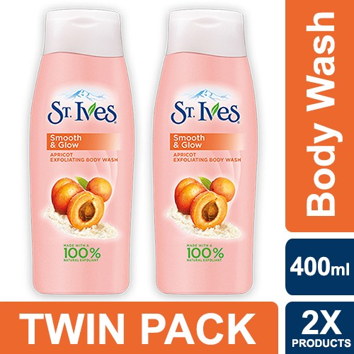St. ives smooth & glow exfoliating apricot body wash 400ml - twin pack