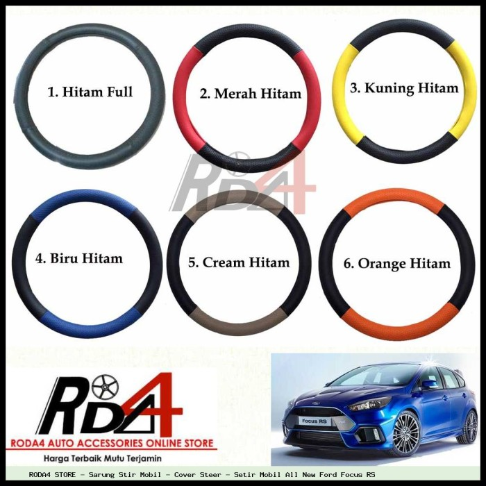 Sarung Stir Mobil - Cover Steer - Setir Mobil All New Ford Focus RS .