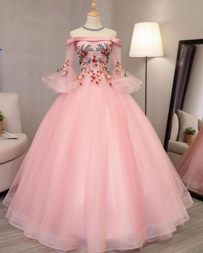 Jual 1708063 Pink Sabrina Lengan Panjang Gaun Pengantin Wedding Gown